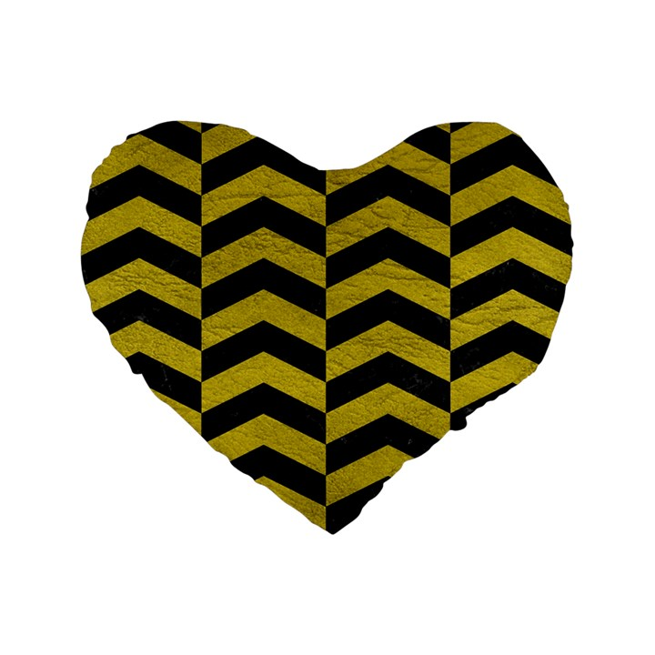 CHEVRON2 BLACK MARBLE & YELLOW LEATHER Standard 16  Premium Flano Heart Shape Cushions