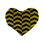 CHEVRON2 BLACK MARBLE & YELLOW LEATHER Standard 16  Premium Flano Heart Shape Cushions Back