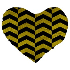 Chevron2 Black Marble & Yellow Leather Large 19  Premium Flano Heart Shape Cushions