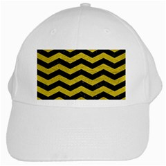 Chevron3 Black Marble & Yellow Leather White Cap