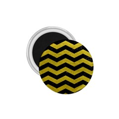 Chevron3 Black Marble & Yellow Leather 1 75  Magnets