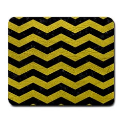 Chevron3 Black Marble & Yellow Leather Large Mousepads