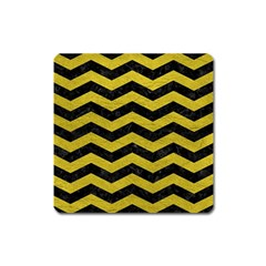 Chevron3 Black Marble & Yellow Leather Square Magnet