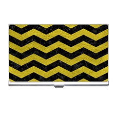 Chevron3 Black Marble & Yellow Leather Business Card Holders