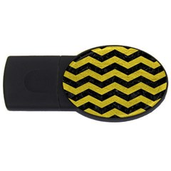 Chevron3 Black Marble & Yellow Leather Usb Flash Drive Oval (2 Gb)