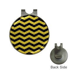 Chevron3 Black Marble & Yellow Leather Hat Clips With Golf Markers