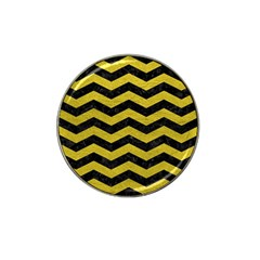 Chevron3 Black Marble & Yellow Leather Hat Clip Ball Marker (4 Pack)