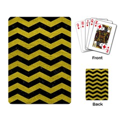 Chevron3 Black Marble & Yellow Leather Playing Card