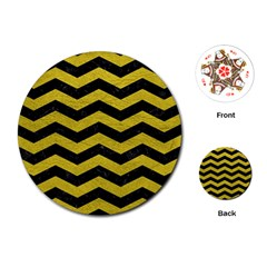 Chevron3 Black Marble & Yellow Leather Playing Cards (round)