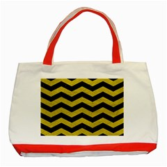 Chevron3 Black Marble & Yellow Leather Classic Tote Bag (red)