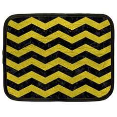 Chevron3 Black Marble & Yellow Leather Netbook Case (large)