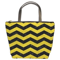 Chevron3 Black Marble & Yellow Leather Bucket Bags