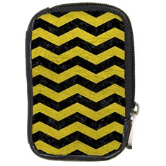 Chevron3 Black Marble & Yellow Leather Compact Camera Cases