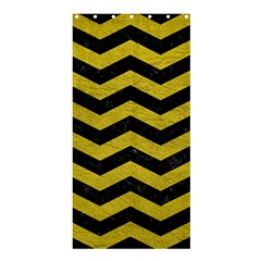 Chevron3 Black Marble & Yellow Leather Shower Curtain 36  X 72  (stall)