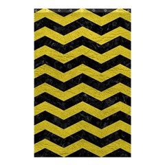 Chevron3 Black Marble & Yellow Leather Shower Curtain 48  X 72  (small)