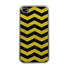 Chevron3 Black Marble & Yellow Leather Apple Iphone 4 Case (clear)