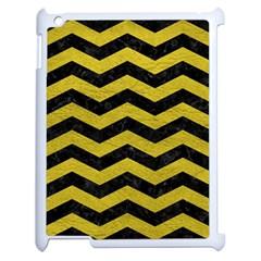 Chevron3 Black Marble & Yellow Leather Apple Ipad 2 Case (white)