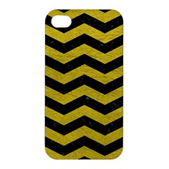 Chevron3 Black Marble & Yellow Leather Apple Iphone 4/4s Hardshell Case
