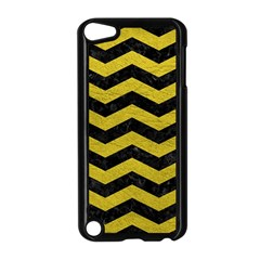 Chevron3 Black Marble & Yellow Leather Apple Ipod Touch 5 Case (black)