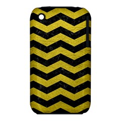 Chevron3 Black Marble & Yellow Leather Iphone 3s/3gs