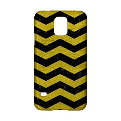 Chevron3 Black Marble & Yellow Leather Samsung Galaxy S5 Hardshell Case