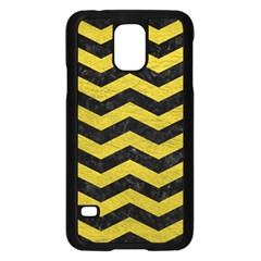 Chevron3 Black Marble & Yellow Leather Samsung Galaxy S5 Case (black)