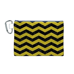 Chevron3 Black Marble & Yellow Leather Canvas Cosmetic Bag (m)
