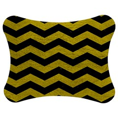 Chevron3 Black Marble & Yellow Leather Jigsaw Puzzle Photo Stand (bow)
