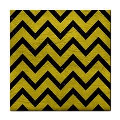 Chevron9 Black Marble & Yellow Leather Tile Coasters