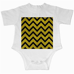 Chevron9 Black Marble & Yellow Leather Infant Creepers