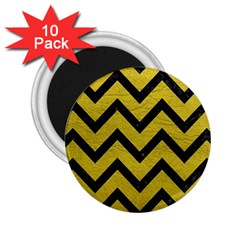 Chevron9 Black Marble & Yellow Leather 2 25  Magnets (10 Pack)