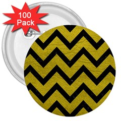 Chevron9 Black Marble & Yellow Leather 3  Buttons (100 Pack)