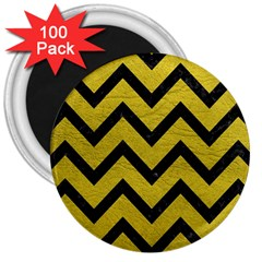 Chevron9 Black Marble & Yellow Leather 3  Magnets (100 Pack)