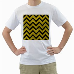 Chevron9 Black Marble & Yellow Leather Men s T Shirt (white) (two Sided)