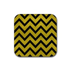Chevron9 Black Marble & Yellow Leather Rubber Square Coaster (4 Pack)