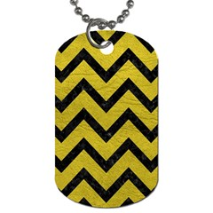 Chevron9 Black Marble & Yellow Leather Dog Tag (two Sides)