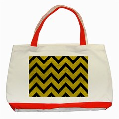 Chevron9 Black Marble & Yellow Leather Classic Tote Bag (red)