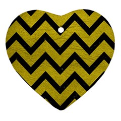 Chevron9 Black Marble & Yellow Leather Heart Ornament (two Sides)