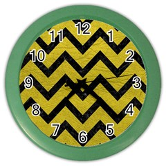 Chevron9 Black Marble & Yellow Leather Color Wall Clocks