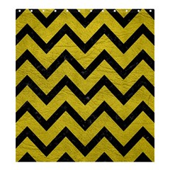 Chevron9 Black Marble & Yellow Leather Shower Curtain 66  X 72  (large)