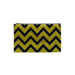 Chevron9 Black Marble & Yellow Leather Cosmetic Bag (small)