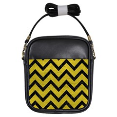 Chevron9 Black Marble & Yellow Leather Girls Sling Bags