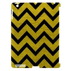 Chevron9 Black Marble & Yellow Leather Apple Ipad 3/4 Hardshell Case (compatible With Smart Cover)