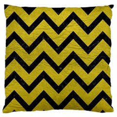 Chevron9 Black Marble & Yellow Leather Large Cushion Case (two Sides)