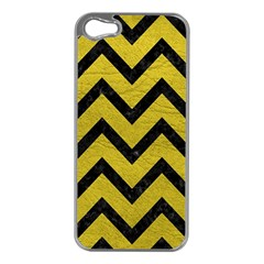 Chevron9 Black Marble & Yellow Leather Apple Iphone 5 Case (silver)