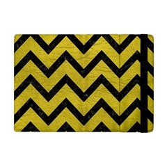 Chevron9 Black Marble & Yellow Leather Apple Ipad Mini Flip Case