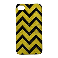 Chevron9 Black Marble & Yellow Leather Apple Iphone 4/4s Hardshell Case With Stand