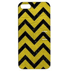 Chevron9 Black Marble & Yellow Leather Apple Iphone 5 Hardshell Case With Stand