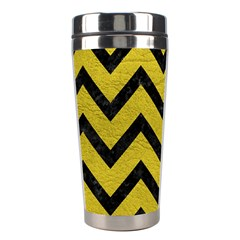 Chevron9 Black Marble & Yellow Leather Stainless Steel Travel Tumblers