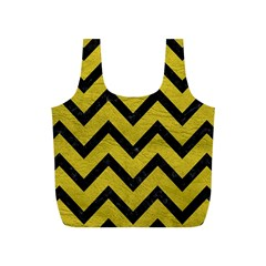 Chevron9 Black Marble & Yellow Leather Full Print Recycle Bags (s)